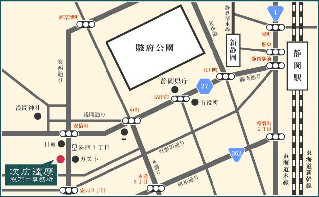 次広達摩税理士事務所のアクセスマップ